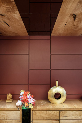 Interior photo of an artistic wall in the dining area of a living room in Bandra, Mumbai