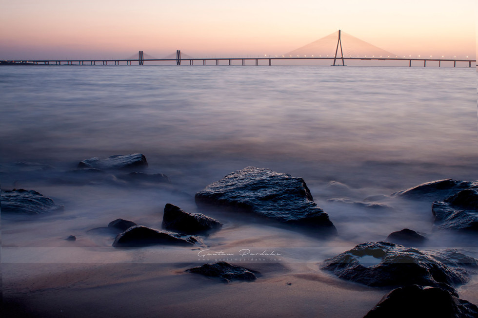 Beautiful landscape photo with sunset colours of the Bandra worli Sealink in Mumbai, India