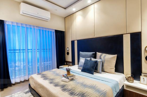 Interior photo of an elegant bedroom in Powai, Mumbai