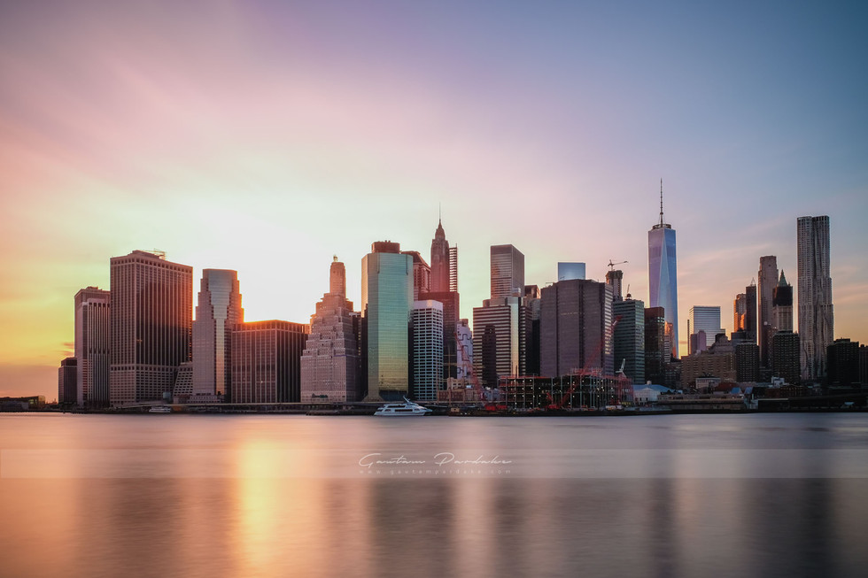 Beautiful image of Newyork city skyline as seen at sunset from Brooklyn