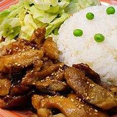 32. PORK B.B.Q. WITH RICE (SMALL)