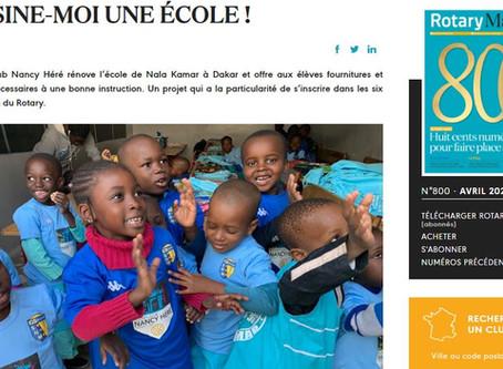 """Avril 2020 - Un très bel article dans le Rotary Mag sur """"Dessine-moi une école"""""""