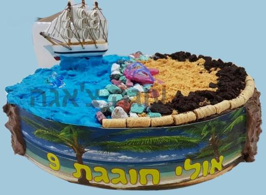 עוגת ים וחוף מבצק סוכר