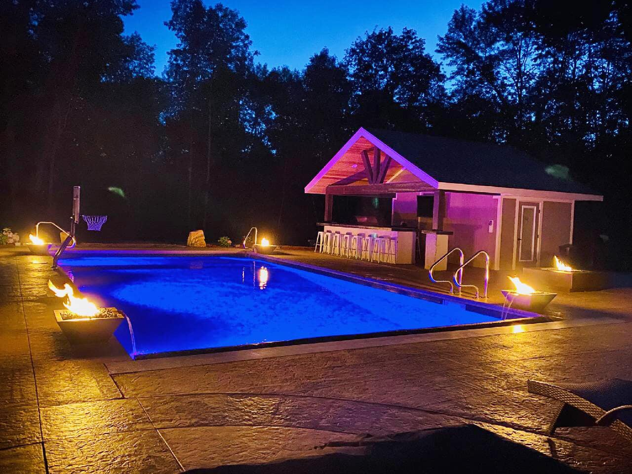 Inground pool with outdoor kitchen