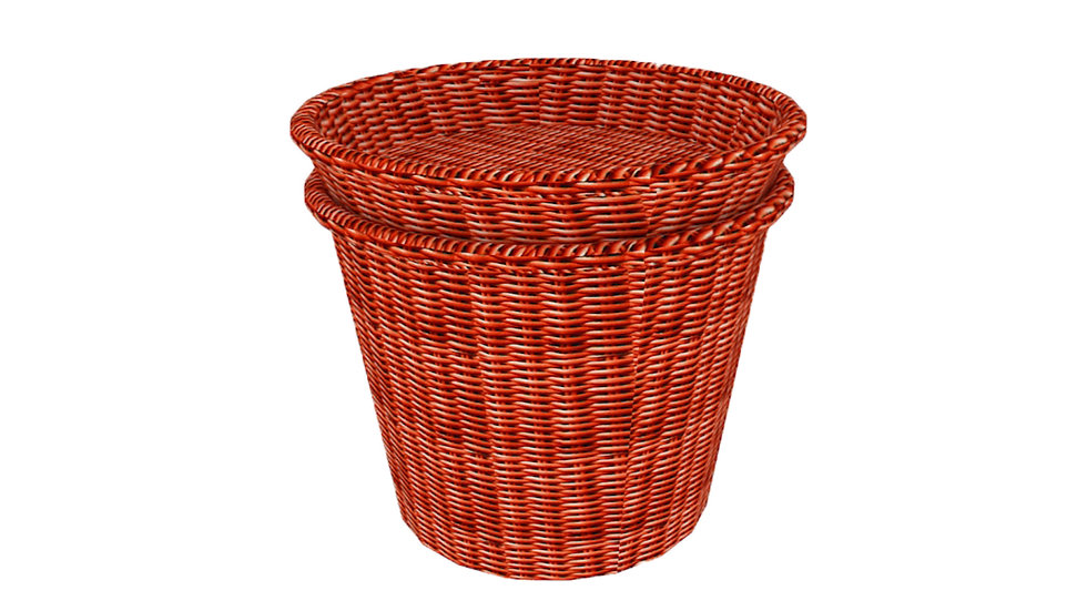 NATURAL WICKER FLAT TOP BASKET WITH STORAGE