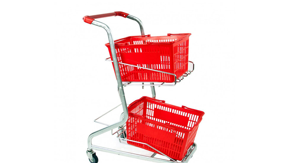 SHOPPING TROLLEY WITH DOUBLE BASKET