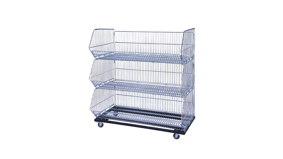 PROMOTION CHROME BASKET WITH BASE WHEEL 900x400x360MM