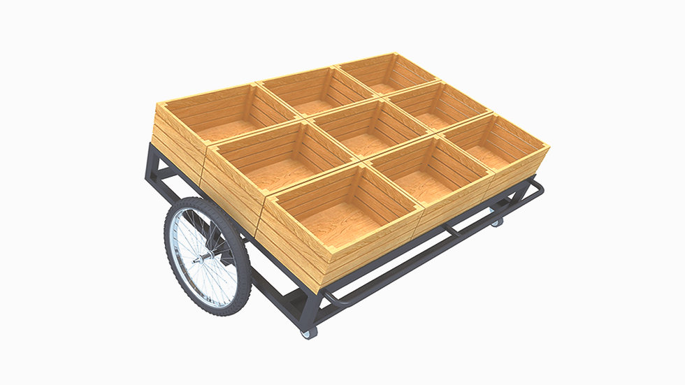 F&V WOODEN DISPLAY CART WITH WHEEL