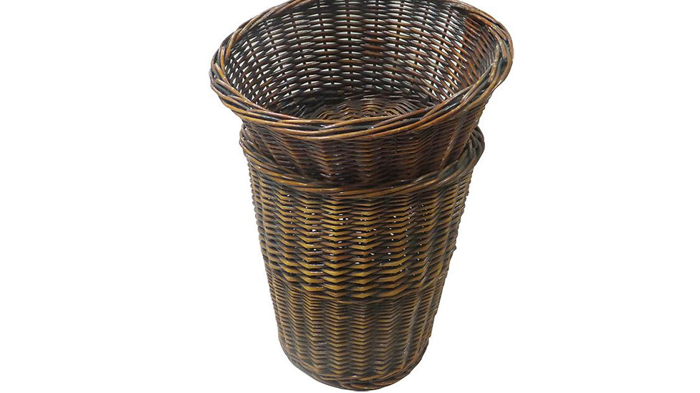 NATURAL WICKER  SLOP TOP BASKET WITH STORAGE