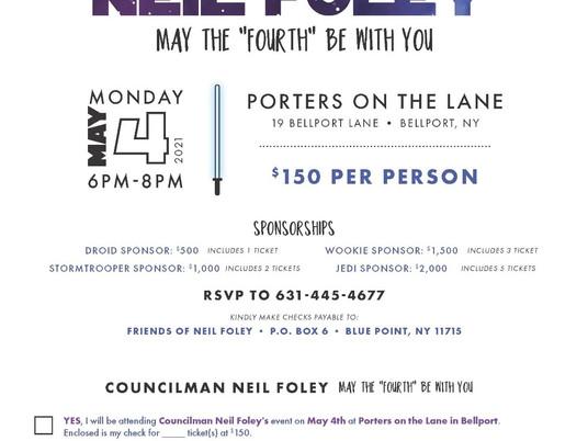 Attention Friends of Brookhaven Town Councilman Neil Foley!
