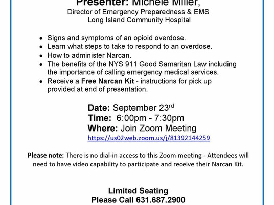 LI Community Hospital Offers Narcan Training in honor of International Overdose Awareness Day