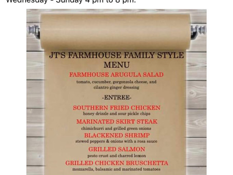JT's Farmhouse reopens for take out and curbside pickup!