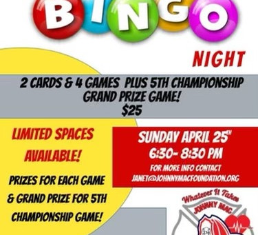 Johnny Mac Foundation Presents Virtual BINGO!