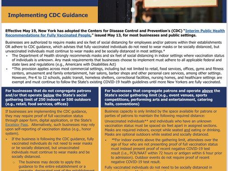 Reopening NYS | CDC Guidance Update