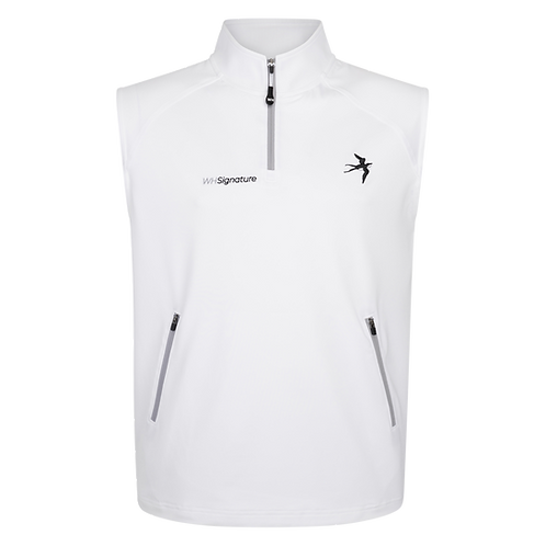 1/4 Zip Signature Gilet - White