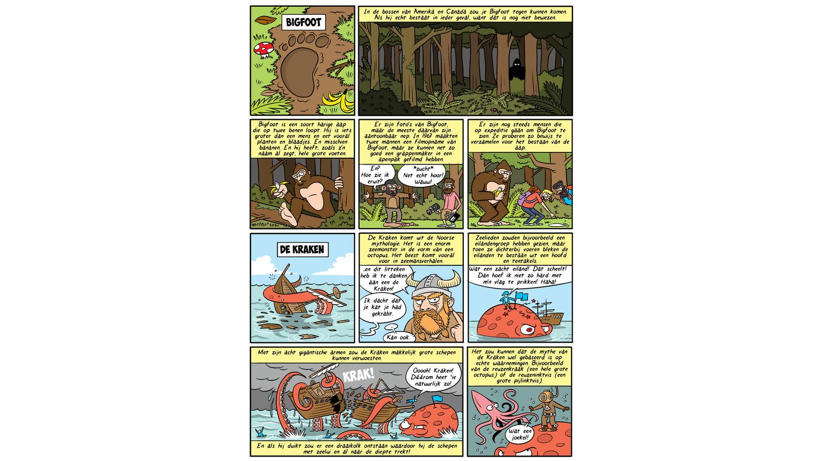 Pagina over Bigfoot en de Kraken