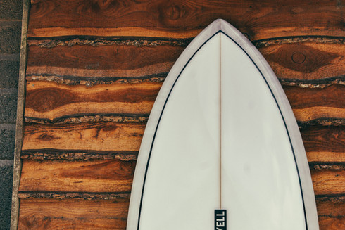 Classic fish surfboard nose