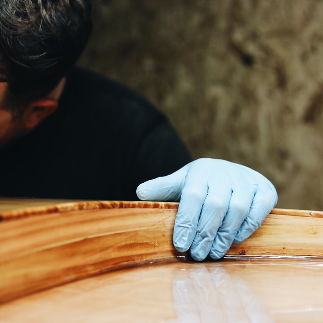 Wooden board glassed wirh eco epoxy