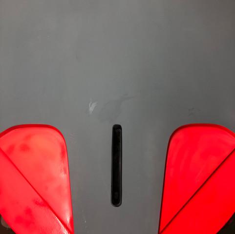 damaged foil box, tuttle box, foil repair devon, surfboard repair, sup repair
