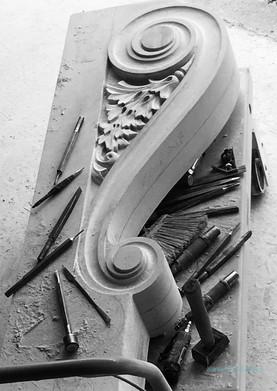 Schurmeier Doorway, Bracket Carving In-process
