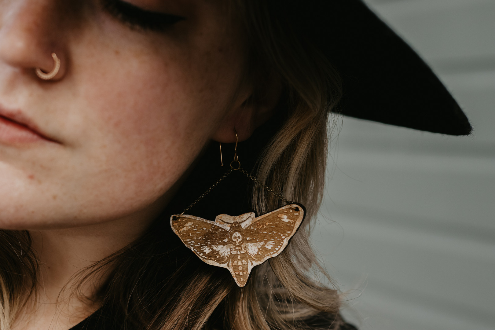 Skull moth shaped earrings