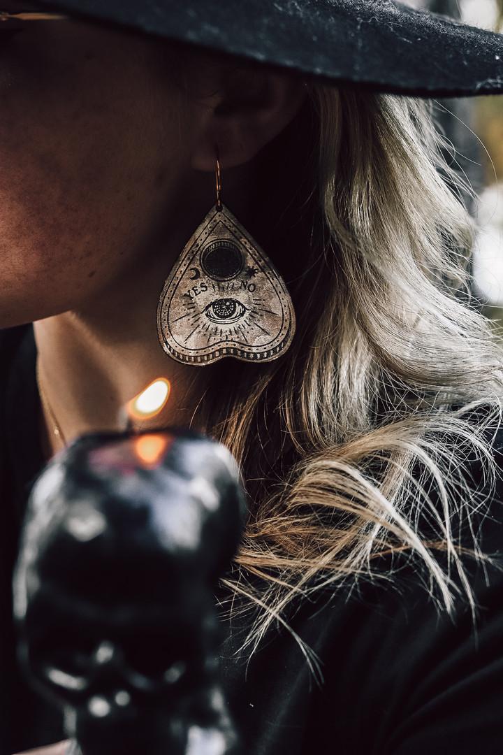 Planchette shaped spirit earrings