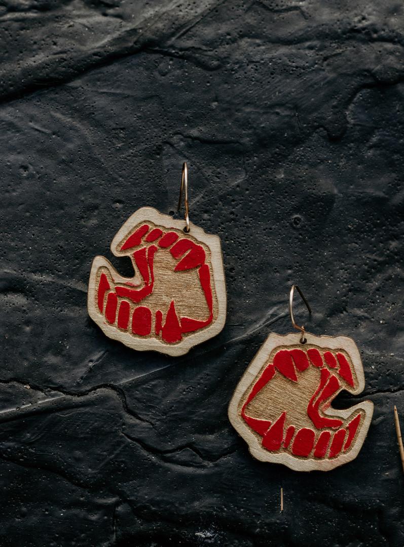 Vampire teeth earrings