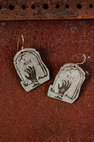 Zombie hand tombstone earrings