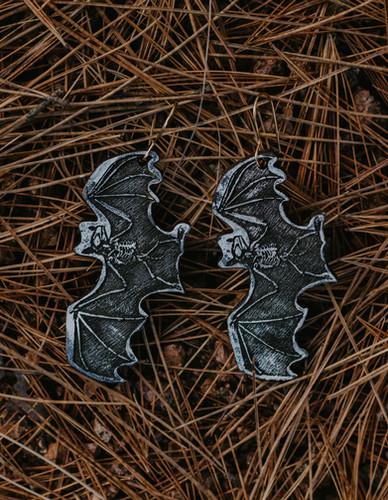 Black Bat with bones earrings