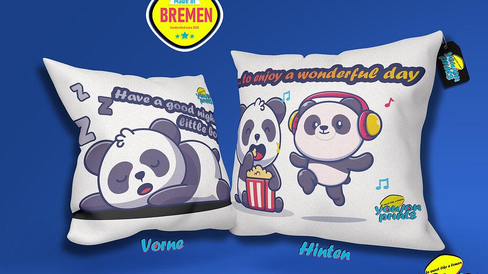 Flauschiger 'PandaSleepandDay' Kissenbezug 40x40cm