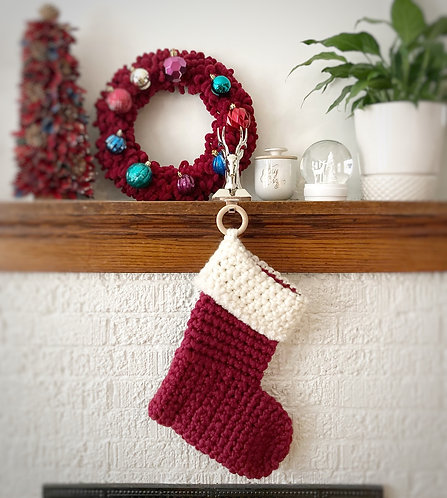 Burgundy & Cream - Holiday Stocking