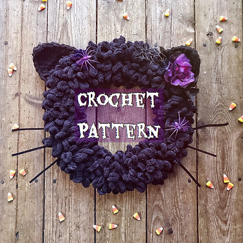 Black Cat Wreath - Crochet Pattern