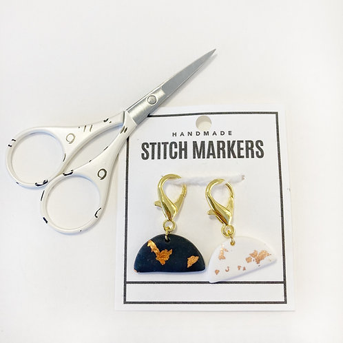 Stitch Markers & Scissors Set - Charcoal & Cream