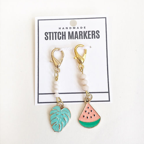 Stitch Markers - Leaf & Watermelon
