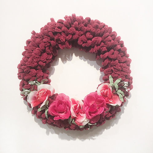 Burgundy Wreath With Flowers
