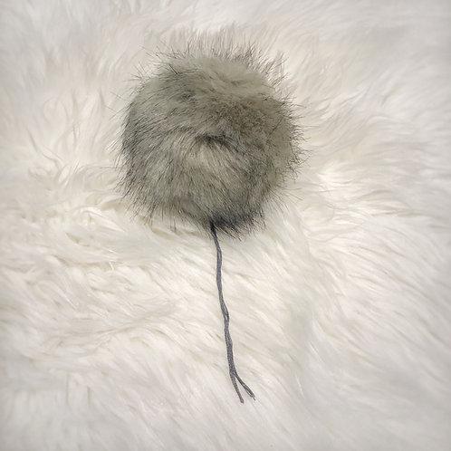 Grey Bernat Faux Fur Pompom - Large