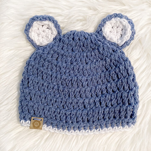 Slate Blue - 3-6 Months Teddy Bear Hat