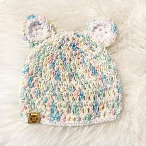 Pastel Rainbow - 1-3 Month Teddy Bear Hat