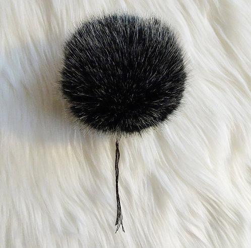 Black Bernat Faux Fur Pompom - Large