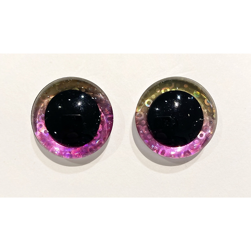 Sequin Pink & Yellow Toy Eyes - 25mm