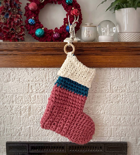 Pink, Teal & Cream - Holiday Stocking