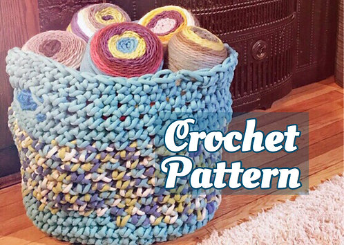 Big Basket - finger crochet pattern (no hook required!)