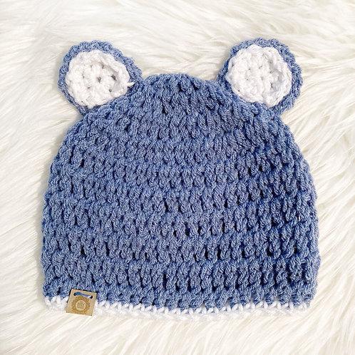 Slate Blue - 6-12 Months Teddy Bear Hat