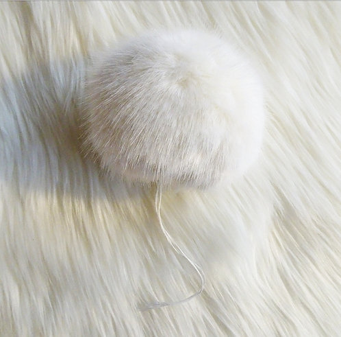 White Bernat Faux Fur Pompom - Large