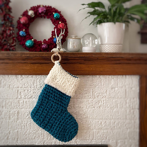 Teal & Cream - Holiday Stocking