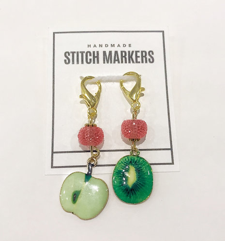 Stitch Markers - Apple & Kiwi