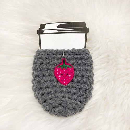 Strawberry - Dark Grey Cup Cozy