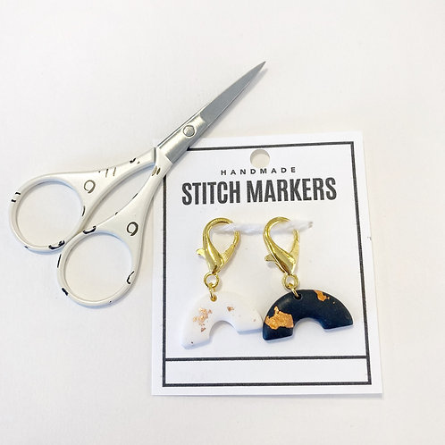 Stitch Markers & Scissors Set - Charcoal & Cream