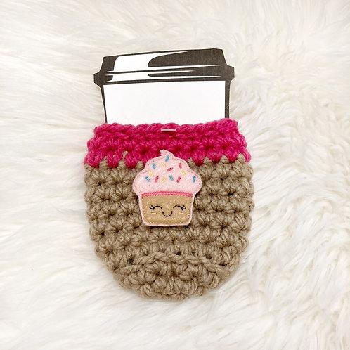 Cupcake - Tan & Hot Pink Cup Cozy