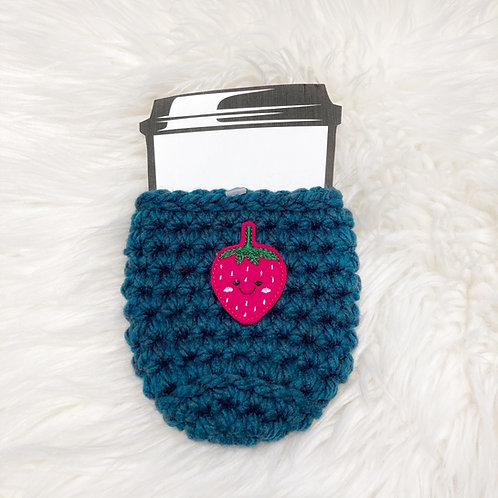 Strawberry - Teal Cup Cozy